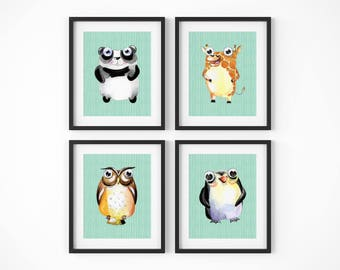Animal Nursery Set | Animal Nursery Four, Poster Bundle, Nursery Decor, Nursery Bundle, Animal Art Bundle, Woodland Bundle, Critter Bundle