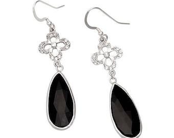On Sale Black onyx earrings, sterling silver, black earrings, gemstone earrings, topaz earrings, statement earrings, flower earrings, onyx j