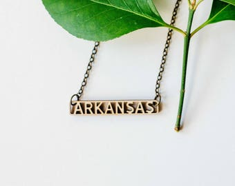 Arkansas Inline Text Bar Necklace Laser Cut Wood Charm Baltic Birch Pendant Minimalist Necklace Arkansas State Pride Engraved State Necklace