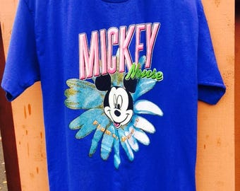 Flower Power Blue Mickey Mouse Tee Size Medium