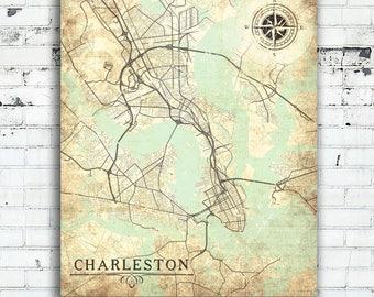 Charleston Decor. CHARLESTON Canvas Print SC South Carolina Vintage map Charleston Sc  City Wall Art poster decor Etsy
