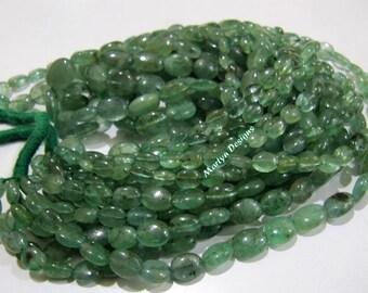 100 Percent Natural Emerald Oval Plain Nugget Beads , Precious Zambian Emerald Beads , 4x6 to 10x13mm Graduated Emerald Beads, Strand 8 inch