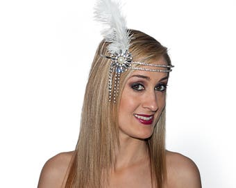1920's Flapper Headpiece Embellished with Rhinestones and feather 4453