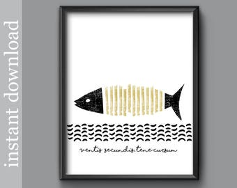 Printable Art Go With The Flow Fish Print Beach Decor Home Decor