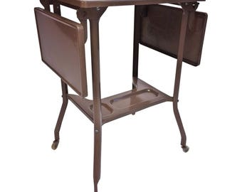 Vintage INDUSTRIAL TYPEWRITER TABLE drop leaf metal mid century plant stand steampunk loft stand gray architectural salvage double toledo 17
