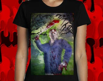 T-shirt Jason Voorhees, Friday the 13th, woman. Gothic, horror cinema, illustration...