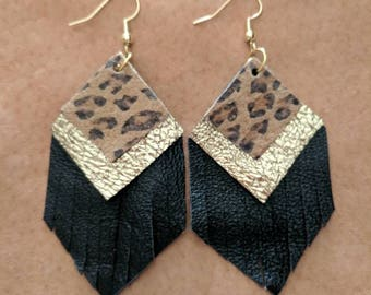 Leopard/Cheetah Diamond Fringe Upcycled Leather Earrings