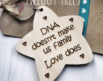 Step Dad  Star DNA doesn't make us family love does Genes keychain Engraved Keyring father Fathers Day Gift present mum mothers day