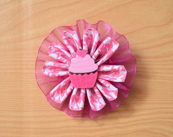 Cupcake Hair Bow - Birthday Bow - First Birthday Bow - Boutique Bow - Pink Hair Bow - Baby Photo Prop