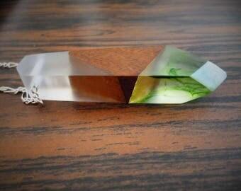 Collier pendentif en bois des Cantons de L'Est/Résine & Chaîne 18 pouces Argent 925 **Expédition gratuite au Canada*Free shipping in Canada*