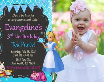 Alice in Wonderland Invitation, Alice in Wonderland Birthday, Alice in Wonderland Party