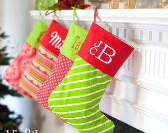Monogrammed Christmas Stockings, Personalized Christmas Stockings, Babies First Christmas Stocking,Bright Christmas Stockings,Xmas Stockings