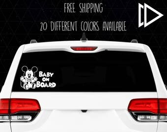 Mickey Mouse Baby On Board - Car Decal