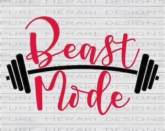 Beast Mode SVG, Gym SVG, Workout SVG, Exercise svg, Barbell svg, svg Design, Crossfit svg, Fitness svg, Beast Mode Shirt svg, Workout Quote