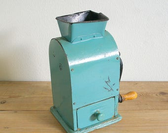 Vintage coffee grinder blue Tix Swedish coffee mill rare.collectible.Farmhouse decor.gift coffee lover.country kitchen