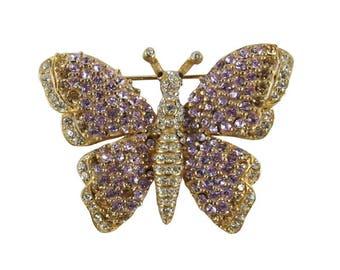 Ciner NY Light Amethyst Crystal Encrusted Butterfly Pin / Brooch