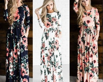 MAXI Dress,holiday resort wear,suitable Maternity,Maternity Dress Floral Long Sleeve