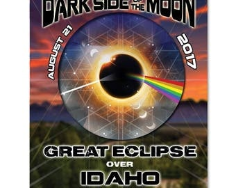 EC026 - Idaho - Dark Side of the Moon Total Solar Eclipse 2017 Sticker (or MAGNET)