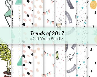 Trends of 2017 Gift Wrap Bundle - digital gift wrap pack, hand-drawn gift wrap, printable gift wrap, A4 gift-wrap, festive gift wrap