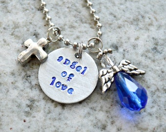 Hand Stamped Charm Necklace: Angel of Love