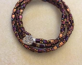Square and round  bead wrap bracelet