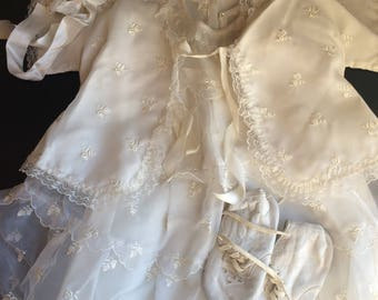 Vintage White Lace Baby Dress, Four Piece Outfit, Baptism Gown