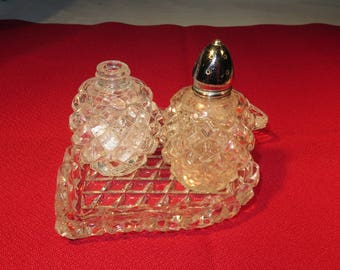 Vintage Glass Crystal Salt & Pepper Shakers w/Tray Diamond Pattern