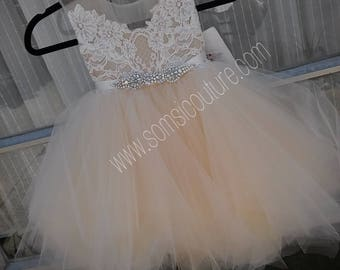 """Couture flower girl dress """"Vivi"""", tea length butterscotch pouffy tulle skirt with French lace, rhinestone sash, birthday dress,fairy dress"""