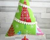 Handmade Christmas Tree / Fabric Christmas Tree / Christmas Table Decoartion / Kitschy Christmas / Christmas Ornament / Wooden Spool tree