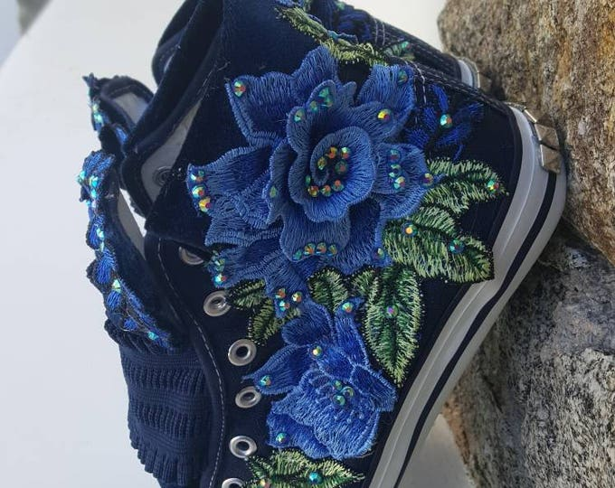 Slip on sneakers,crystal shoes,canvas sneakers,flowers shoes,blue,stud shoes,women's shoes,bling bling ,sparkling,embellished,handmade,lace