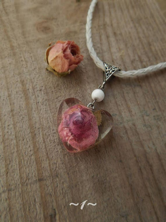 Heart shaped epoxy resin real pink rose pendant dry flower like this item audiocablefo light ideas