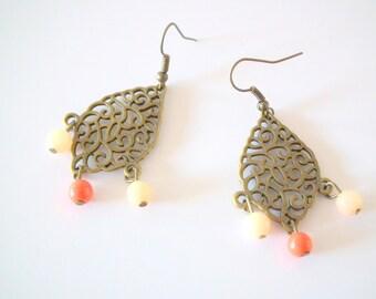 """""""Gypsy"""" salmon pink earrings"""