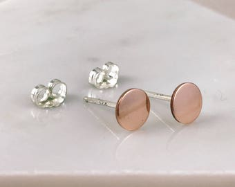 14k rose gold earrings | 14k rose gold studs | simple earrings | popular earrings | unique gift | rose gold filled studs
