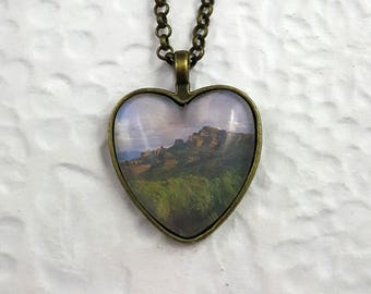 Island in the Sky Necklace with Heart-shaped Glass Cabochon Heart Necklace Photo Necklace Souvenir Necklace Landscape Photography