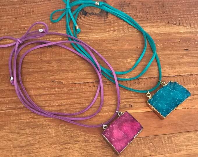 Druzy Choker Necklace Valentine Gift Wrap Leather Vegan Teal Blue Pink Purple Stone Statement Festival Long Silver Gold Geode Quartz Pendant