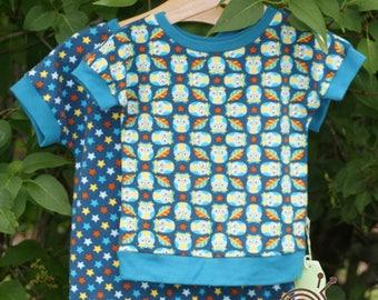 Owls turquoise - shirt made of organic fabrics handmade