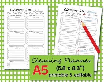 Cleaning checklist, Cleaning schedule, Cleaning planner, Cleaning templates, Cleaning List, A5 inserts - Instant Download