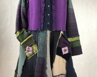Purple Cashmere and Wool Upcycled  Sweater Dress Hoodie with velvet lined pockets