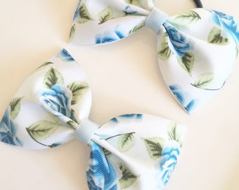 Large blue floral print Tux Hair Bow on bobble or clip - hair bows, hair bobbles, hair accessories, hair clip