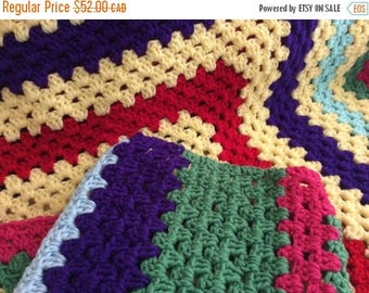 """On Sale Vintage medium sized hand crafted crocheted afghan. Multicolour Afghan 45 x 70""""."""