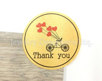 50 Stickers, 1.5 Inch Thank You Sticker, Kraft Paper Round Circle Adhesive, Heart Bicycle Tags, Packaging Party Gift Supply, Labels