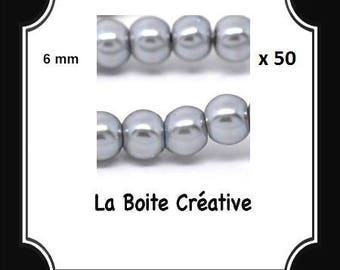 50 beads round glass Pearl gray 6 mm