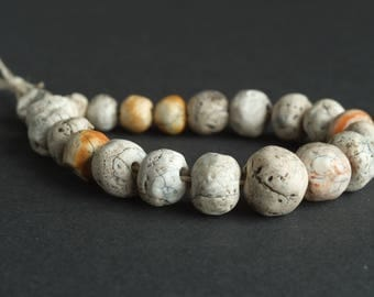 Agate carnelian beads, White  stones, Excavated ancient beads, white patined agate carnelian beads, I-III century A.D.