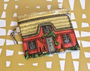Splendid Vintage - oil cloth coin purse - Thatched cottage. Retro