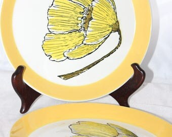 "Two Mikasa Duplex Duet Ben Seibel Yellow Gold Salad Plates -- 7.5"" Diameter -- Japan -- Gold, White, Flower"