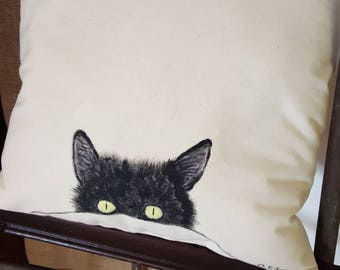 Hand Painted black cat Pillow Cover, Rustic Farmhouse Decor, Decorative Pillow, Halloween gothic, Cottage Chic, French Country