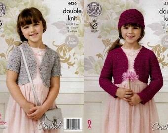 """King Cole Crochet Pattern 4426~Easy Crochet Boleros & Hat~DK~23-34.5"""""""