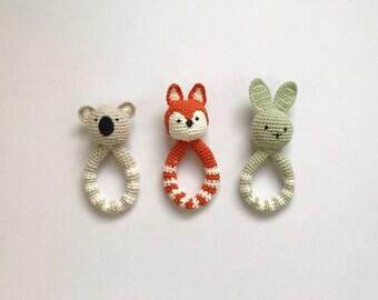Soft crochet baby toy fox, koala bear, bunny rabbit