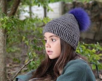 Interchangable Alpaca Slouch Beanie and Fur Pom Pom • childs handmade crochet (knit) ribbed alpaca wool hat