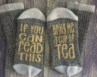 Tea socks, i love tea, love for tea, bring me a cup of tea, if you can read this socks, yellow lemon design, give me tea now